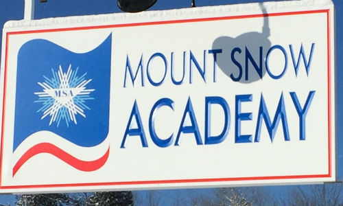 mt. snow academy sign close up